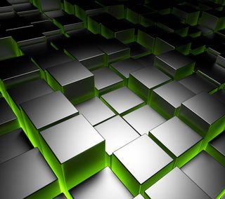 Обои на телефон хром, кубы, металл, кирпичи, квадратные, зеленые, backlit, 3д, 3d