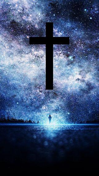 Обои на телефон синие, звезды, бог, исус, христианские, крест, духовные, верить, духовность