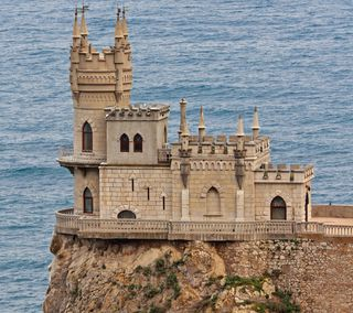 Обои на телефон утес, россия, океан, здания, замок, дворец, ukraine