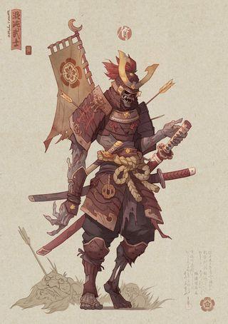 Обои на телефон шлем, самурай, флаг, скелет, одежда, меч, катана, демон, броня