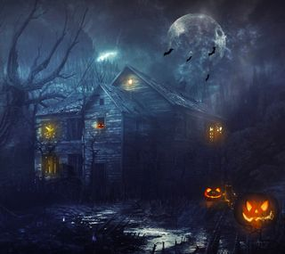 Обои на телефон тыква, хэллоуин, луна, летучие мыши, дом