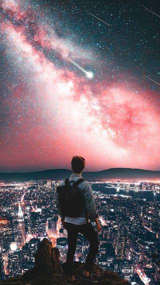 Обои на телефон солнечный свет, ночь, луна, жизнь, галактика, galaxy