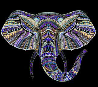 Обои на телефон слон, черные, синие, арт, art