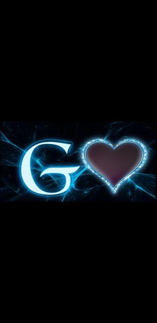 Обои на телефон черные, синие, молния, буквы, g letter