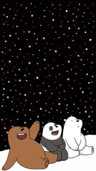 Обои на телефон медведи, счастливые, снег, зима, happy