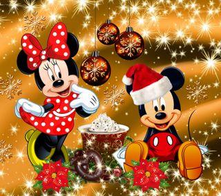 Обои на телефон счастливое, рождество, мультики, минни, маус, дисней, disney, 1440x1280px