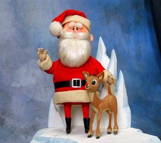 Обои на телефон олень, снег, санта, рождество, песня, нос, мультфильмы, santa and rudolph, rudolph