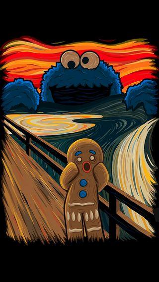 Обои на телефон печенье, картина, gingerbread man, gingerbread, cm painting