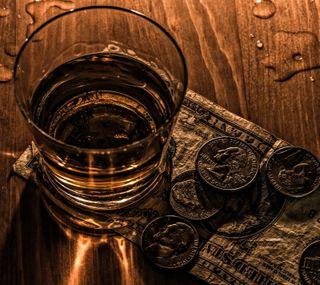 Обои на телефон напиток, стекло, капли, доллары, время, drink time, coins