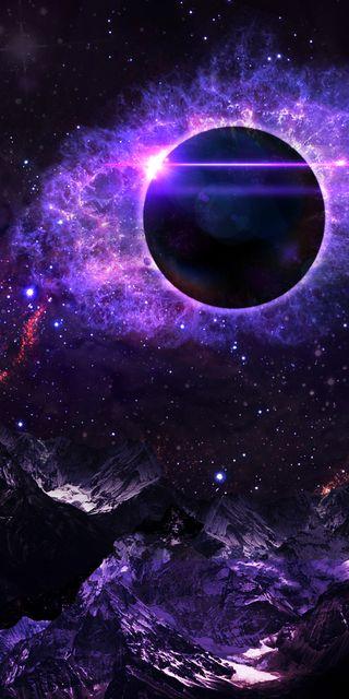 Обои на телефон фантазия, туманность, планета, космос, звезды, затмение, вселенная, nova