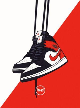 Обои на телефон обувь, черные, прыгать, огонь, найк, красые, джордан, nike, kicks, jump man, air, 23