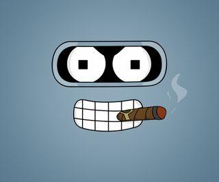 Обои на телефон футурама, сигареты, робот, металл, комедия, забавные, бендер