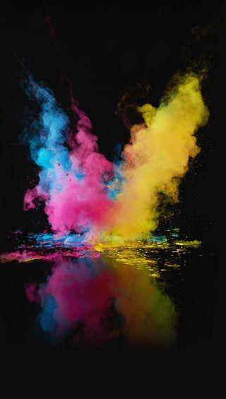 Обои на телефон отражение, красочные, вода, взрыв