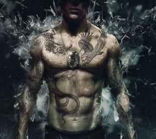 Обои на телефон тело, тату, спящий, собаки, арт, wei shen, tattoo body art, tattoo body, sleeping dogs, art
