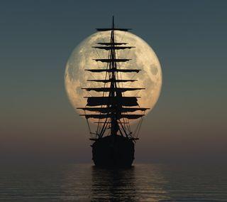 Обои на телефон океан, море, лунный, луна, лодки, корабли, vessel