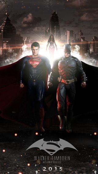 Обои на телефон против, супермен, бэтмен, wonderwoman, batmanvssuperman