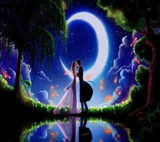 Обои на телефон поцелуй, луна, день, shankar gurjar, moonlight kiss, 1440x1280