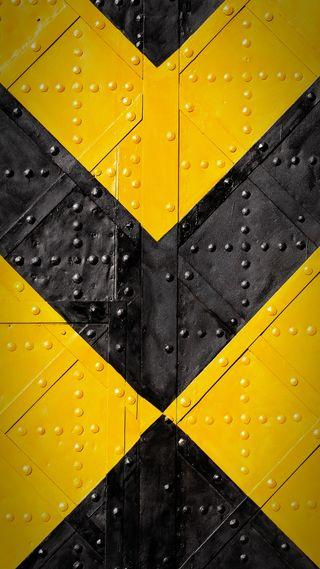 Обои на телефон треугольники, черные, формы, металл, желтые, дизайн, yellow and black, v shape