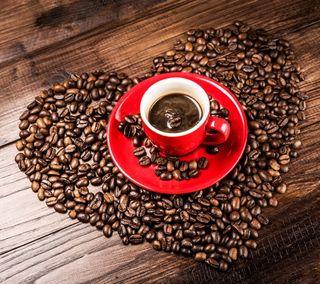 Обои на телефон чашка, сердце, любовь, кофе, зерна, love, cup, coffee with love