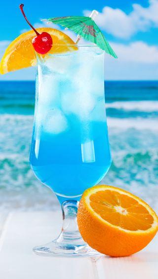 Обои на телефон фрукты, тропические, праздник, пляж, напиток, море, коктейль