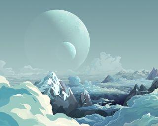 Обои на телефон планеты, фантазия, синие, облака, небо, луна, космос, fantasy sky