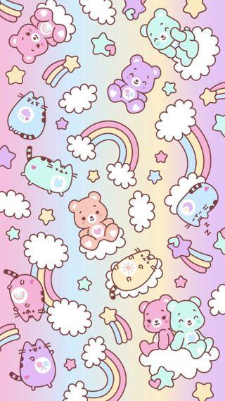 Обои на телефон медведи, шаблон, радуга, пушин, пастельные, милые, красочные, кошки, звезды, carebears