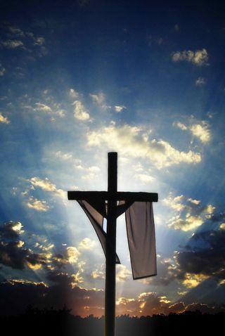 Обои на телефон христос, пасхальные, солнце, облака, крест, religous