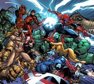 Обои на телефон человек паук, халк, марвел, капитан, группа, америка, marvel group