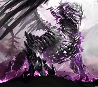 Обои на телефон металл, дракон, dragon