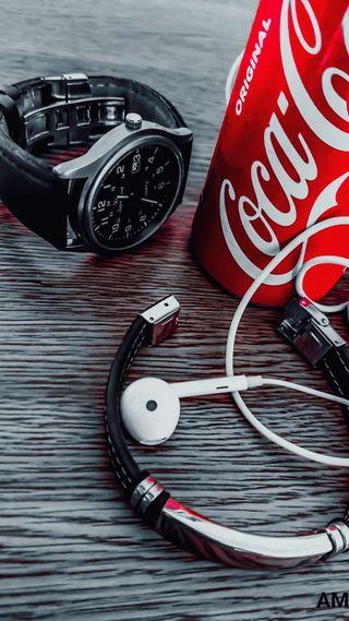 Обои на телефон часы, кола, кока, wallpaperes, coca cola canette, canette
