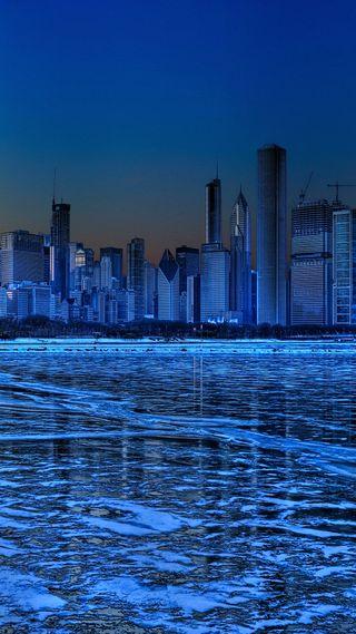 Обои на телефон чикаго, озеро, небоскребы, лед, зима, здания, город, city freeze