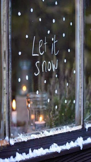 Обои на телефон стекло, снег, рождество, оно, белые, let it snow