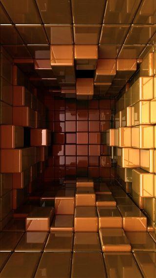 Обои на телефон кубы, золотые, 3д, 3d