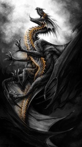 Обои на телефон фантазия, черные, дракон, dragon