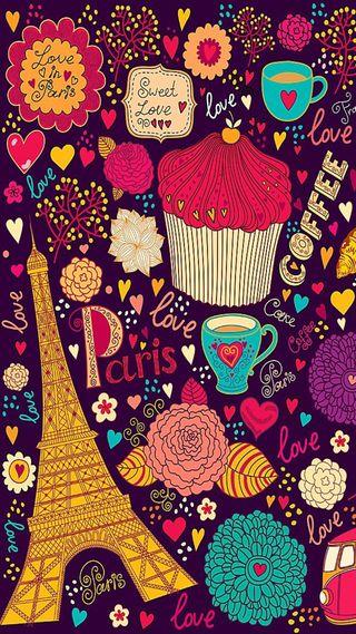 Обои на телефон девчачие, цветы, фиолетовые, розовые, париж, кофе, девушки