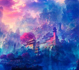 Обои на телефон цветные, пейзаж, китай, фантазия, buda gautama