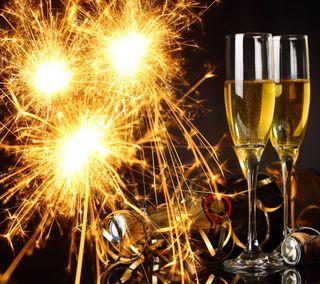 Обои на телефон шампанское, фейерверк, счастливые, новый, золотые, happy, 2014