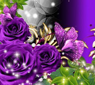 Обои на телефон purple flowers, purple rose, природа, цветы, фиолетовые, розы, бабочки, сад