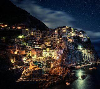Обои на телефон италия, океан, ночь, море, европа, деревня, горы, город