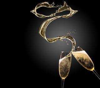 Обои на телефон шампанское, очки, счастливые, новый, золотые, брызги, happy, 2014