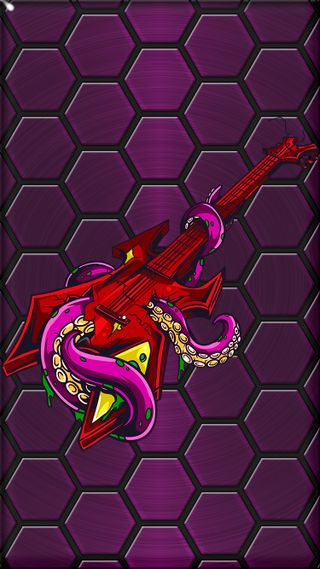 Обои на телефон многоугольник, фиолетовые, рок, осьминог, красые, гитара, rock and roll