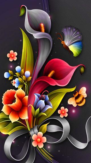Обои на телефон фантазия, цветы, пчела, красочные, дизайн, арт, абстрактные, flower fantasy, butterly, art