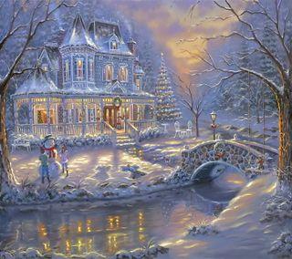 Обои на телефон дом, снег, рождество, зима, время