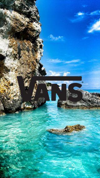 Обои на телефон утес, синие, океан, море, логотипы, бренды, vans cliff, vans