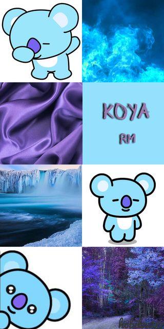 Обои на телефон фиолетовые, синие, намджун, бтс, rm, kiya, kim namjoon, bts bt21 koya, bts, bt21
