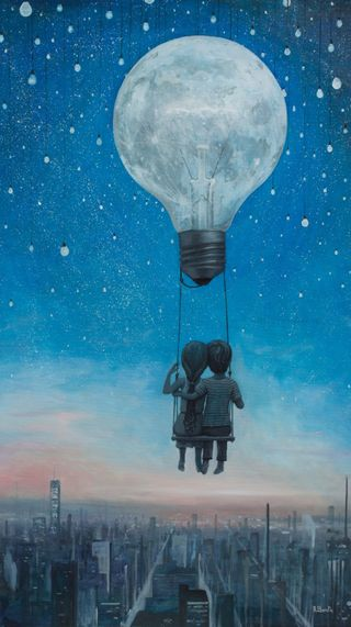 Обои на телефон картина, романтика, ночь, небо, любовь, луна, звезды, арт, our love, love, borda, art, adrian