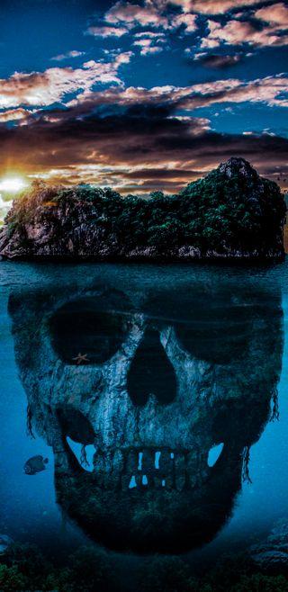 Обои на телефон остров, череп, террор, смертоносный, океан, land skull