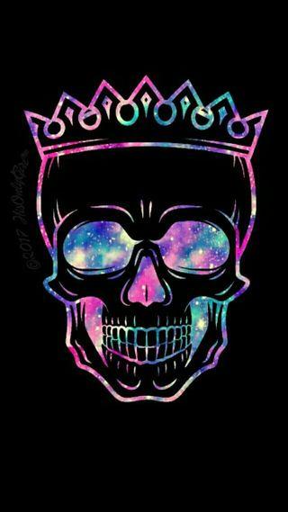 Обои на телефон корона, череп, цветные, галактика, galaxy