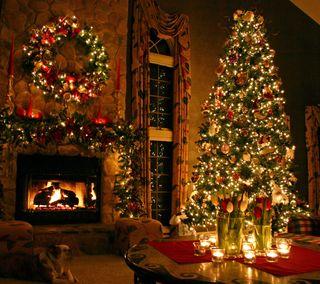 Обои на телефон каникулы, дерево, рождество