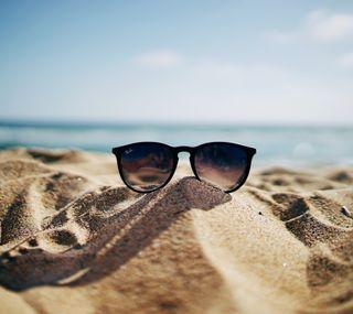 Обои на телефон песок, стекло, солнце, праздник, пляж